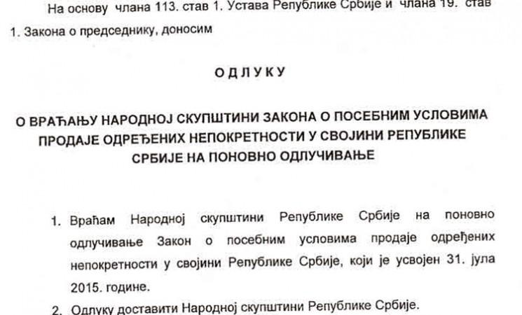 Ispravna odluka o vraćanju Zakona o prodaji državnih nepokretnosti