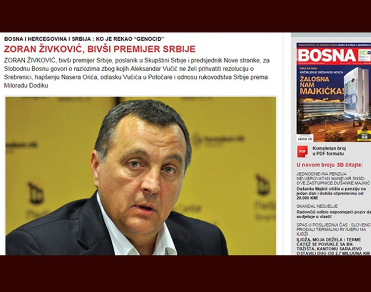Živković za Slobodnu Bosnu: Rezolucijom o Srebrenici ne osuđuje se Srbija