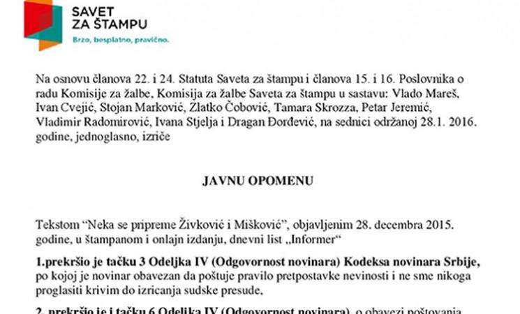 Savet za štampu odlučio: Informer prekršio Kodeks novinara tekstom o Živkoviću