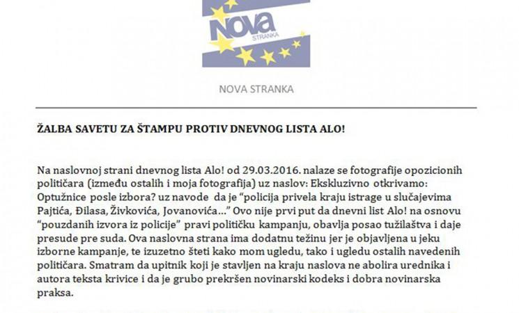 Živković podneo žalbu Savetu za štampu protiv lista Alo