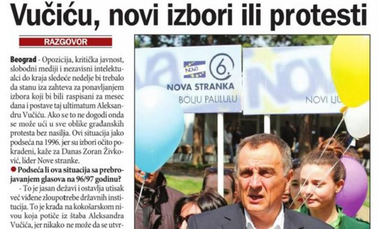 Živković za Danas: Ultimatum Vučiću - novi izbori ili protesti!