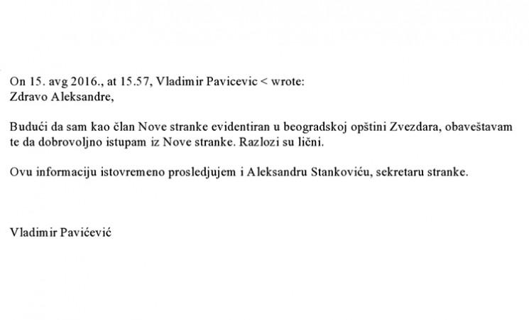Saopštenje povodom povlačenja Vladimira Pavićevića