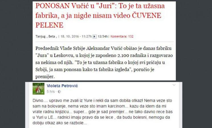 """Vučićev ponos – """"Jura"""": Otkaz radnici koja se leči od karcinoma!"""