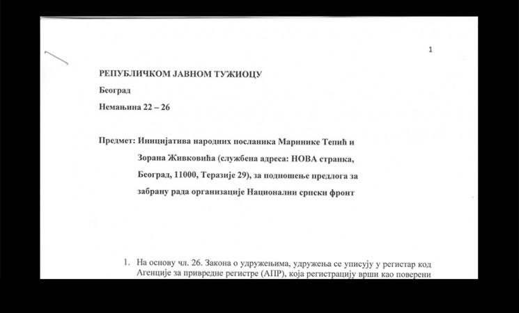 Podneta Inicijativa za zabranu rada Nacionalnog srpskog fronta