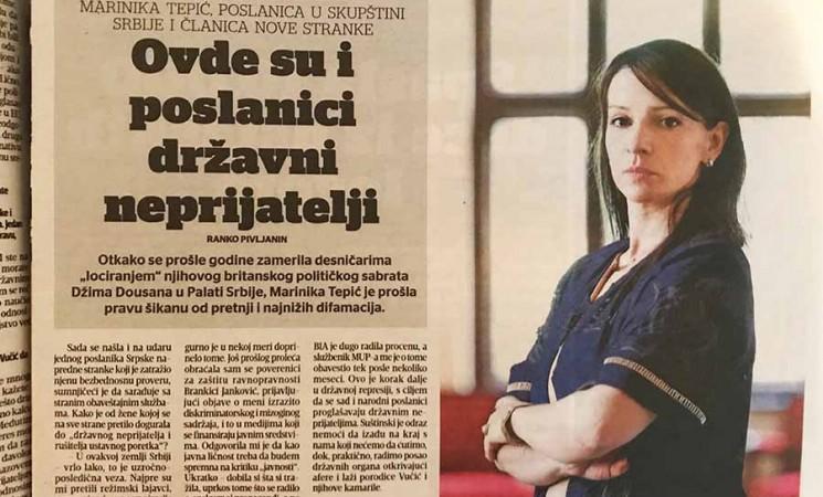 Tepić za Blic: U Srbiji su i poslanici državni neprijatelji